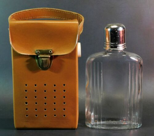 Vintage Glass Alcohol Flask with Sheath Case