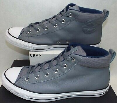 New Mens 12 Converse All Star CTAS Street Mid Cool Grey Leather Shoes$80 157535C