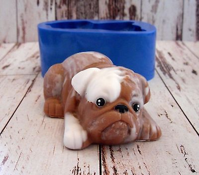 """Bulldog 2"" dog silicone mold for soap and candles making mould molds"