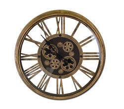 Vintage Metal Skeleton Wall Clock With Moving Gears and Roman Numerals on Glass