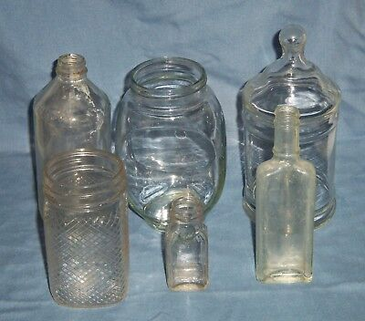 Glass Candy Jars Wholesale (Lot 6 VTG Antique Clear Glass Jar Bottles Candy Dish Ball Canning Anchor)