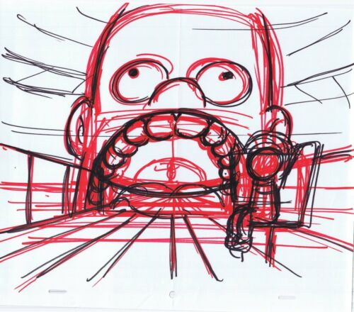 Simpsons Homer Original Art Animation Production Markers Concept Rough Comp 2