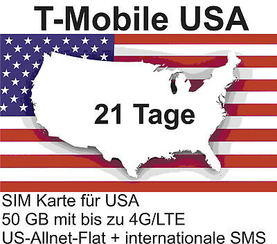 t-Mobile USA Prepaid SIM mit 50 GB 4G/LTE + US-Allnet-Flat für 21 Tage