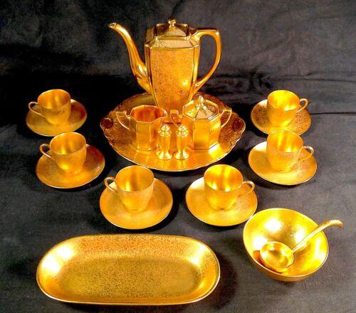 PICKARD ROSE & DAISY Gold Encrusted 21PC COFFEE LUNCHEON SET ARZBERG WHEELING+