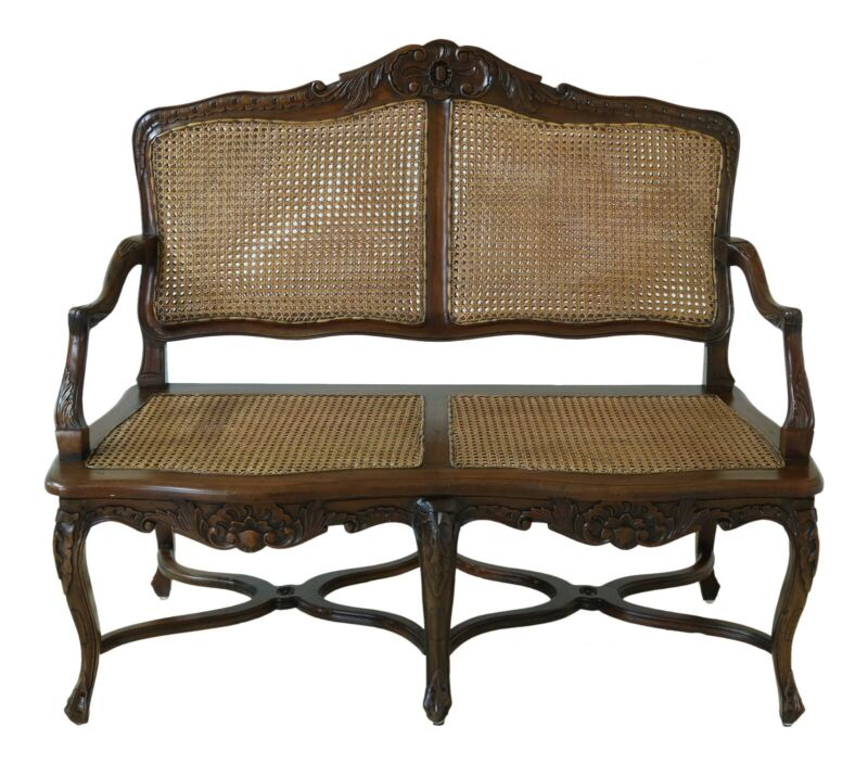 49158EC: French Louis XV Style Cane Back & Seat Settee
