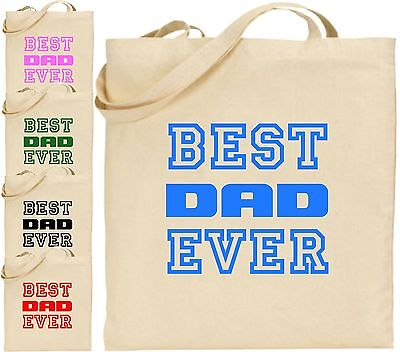 Best Dad Ever Large Cotton Tote Shopping Bag Fathers Day Papa Present Xmas