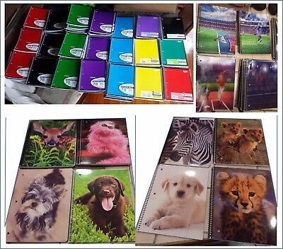 (Spiral Notebooks 70/120 pages; College/Wide Ruled; 1/3 Subject; Sports, Animals )