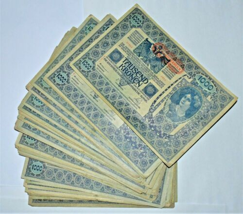 Banknotes , Banknote 1000 Kronen1902 , Lot 50 pcs. V-VF-XF condition