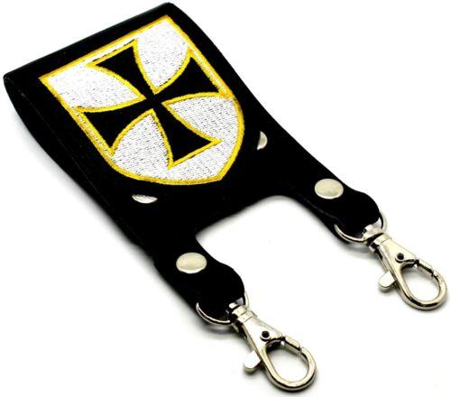 Knight Templar Masonic Belt Sword Scabbard Holder Crusader BLACK CROSS