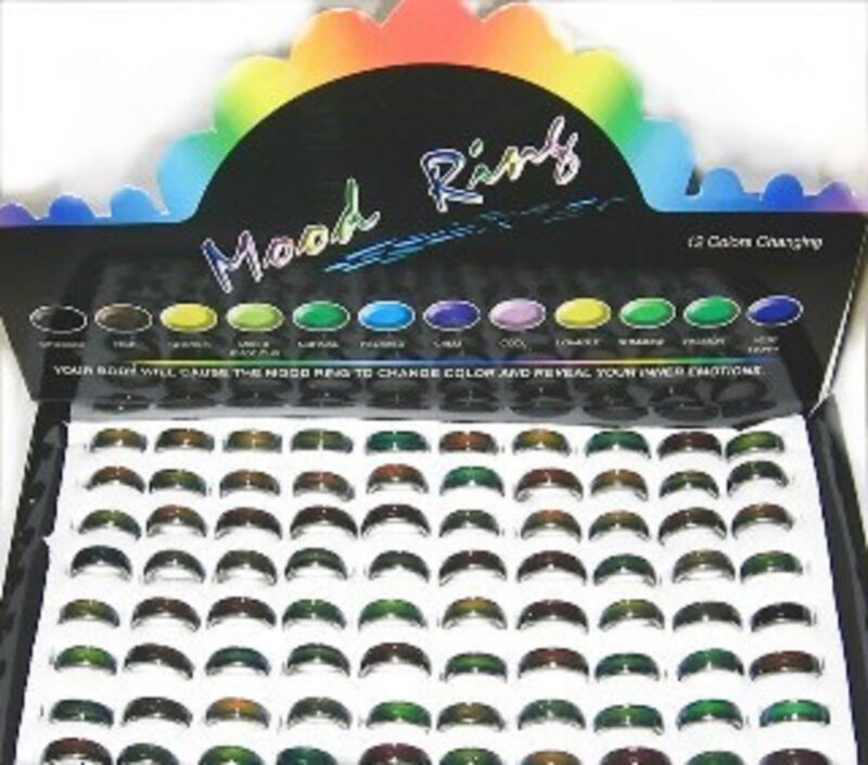 100 MOOD Rings band wholesale lot girls W/Case 6mm wide
