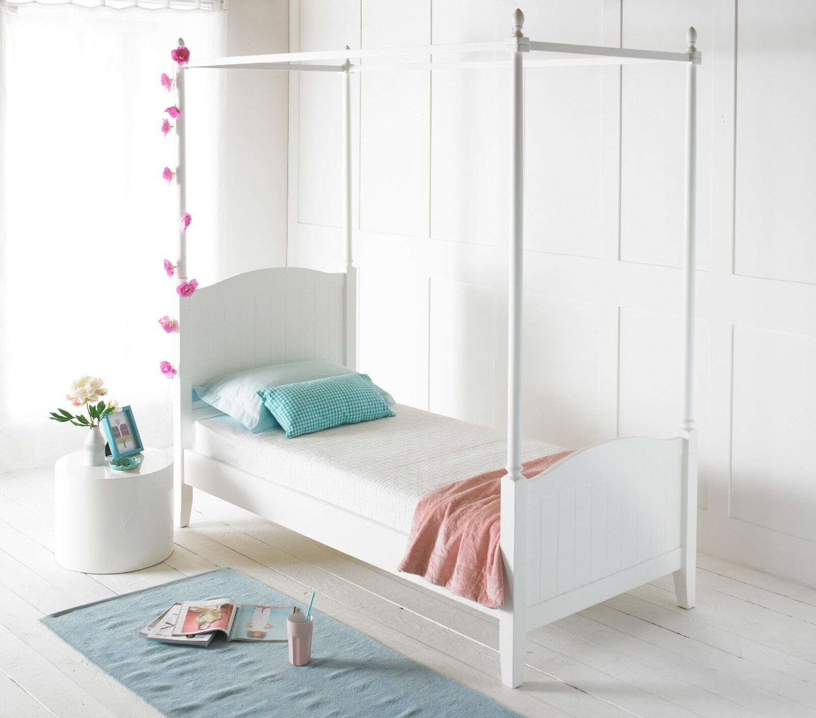 Beau 4 Four Poster Solid Wood Bed Frame Childrens Single Painted White Bed Only Ebay