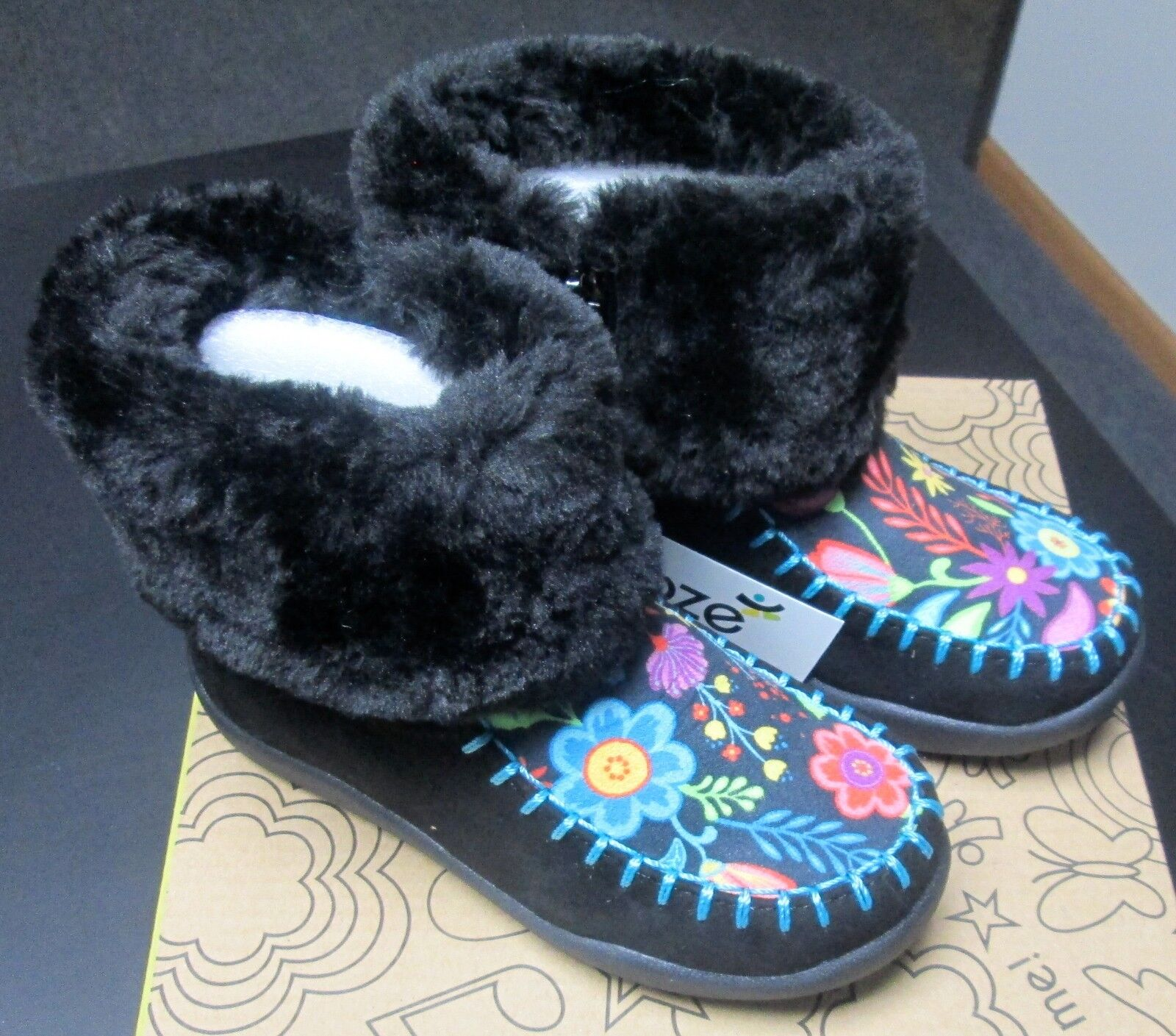 NEW TODDLER GIRL CHOOZE SHOES BLACK SUEDE/FUR TRIMMED BOOTS w/FLOWERS SZ 9