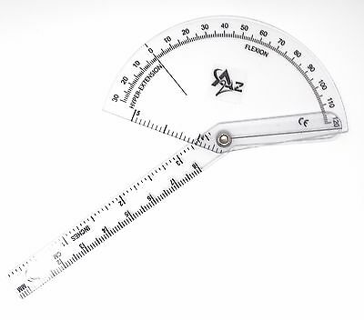 Finger Goniometer Measure Flexion Hyper-extension Clear Plastic