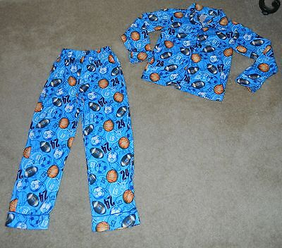 Youth Boys JCPENNEY  Sports Ball Themed 2 Pc. Fleece L/S Pajama Set, Sz 10~MINT - Winter Ball Themes