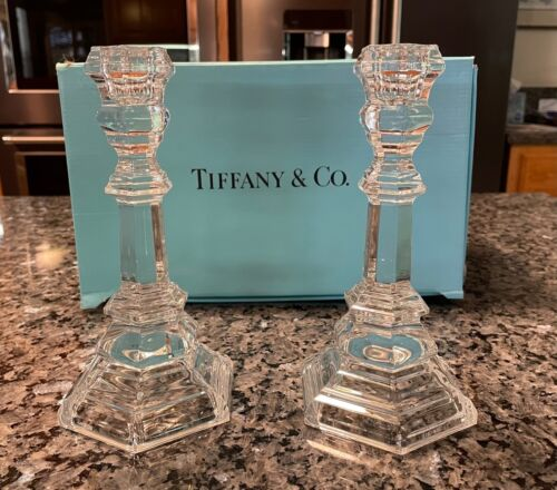 TIFFANY & Co.  PLYMOUTH Crystal Candesticks - Set of 2 - Pre-owned