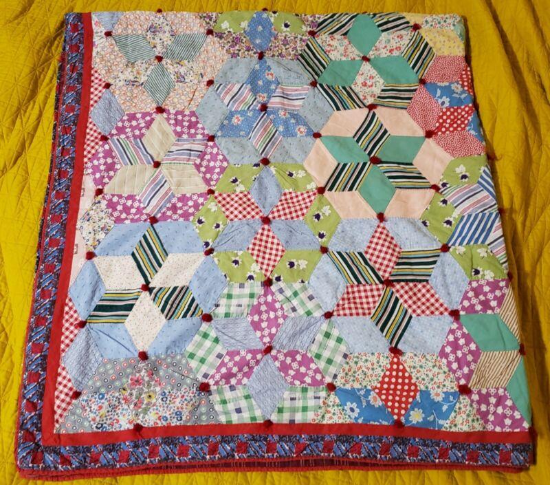 """Antique Quilt Hand Stitched Star Flower Quilt Throw Blanket 68"""" x 74"""""""