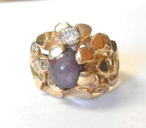 Mens Vint Nugget 14K Yellow Gold Purple Star Sapphire 4mm Diamond Ring Size 10.5