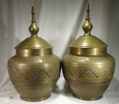 Pair Antique Islamic Philippine Gador Brass Copper Inlaid Jars Mindanao Marano