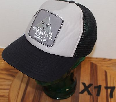 TRICON TIMBER ST. REGIS MONTANA HAT TRUCKERS HAT BLACK/GRAY SNAPBACK GUC X17