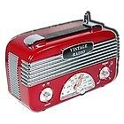 AM FM RADIO VINTAGE RETRO 40'S OLD STYLE REPLICA TRANSISTOR BLACK RED CREAM