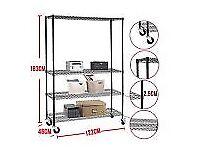 4 Tier Heavy Duty Layer Wire Shelving Rack Adjustable Steel Shelf