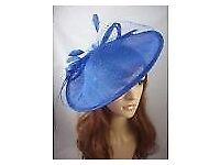 Royal Cobalt Blue Large Sinamay Saucer Fascinator & Net Detail - Wedding Races