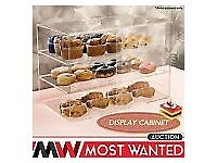 3 Tier Large Cake Bakery Donut Pastry 5mm Acrylic Cupcake Display Cabinet