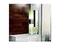 Shower screen single frameless panel 800mm - designer mirror like effect