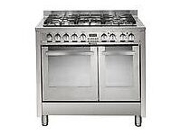 Hotpoint 90cm Stainless Steel Dual Fuel Range Cooker - as new