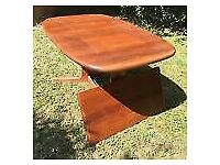 Solid teak, mid century, Danish made dining table and 6 chairs