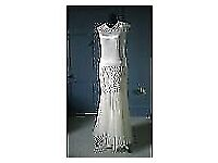 VINTAGE 1920 Flapper Dress Art Deco Wedding Dress Ivory-white Long Dress Gown Period Costume ANTIQUE