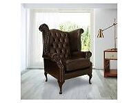 Brand New Chesterfield Queen Anne High Back Wing Chair Antique Brown Leather