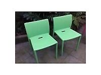 Jasper Morrison Air chair grass green x 2 Outdoor garden dining furniture excellent condition