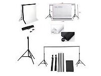 Photography equipment - 2 softboxes, background stand and 6 small/large backgrounds