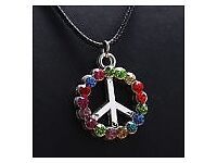 Retro Turtle Colorful Crystal Silver Pendant Necklace Women's/Mens Jewellery