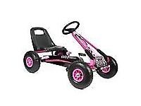 girls kids GO-KART pink pedal inflatable tyres 5-8 years BRAND NEW