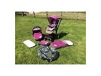 Jane Rider Matrix travel system pink/purple pushchair with buggy board