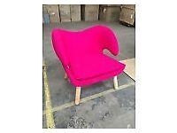 Beautiful New Finn Juhl Inspired 'Pelican Chair' in Hot/Fushia Pink Cashmere RRP £450