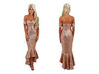 Rose Gold Fishtail Evening Dress