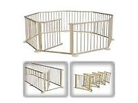 Wooden play pen with 8 sides
