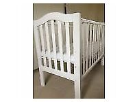 Baby cot in white with matress, good condition