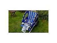 Double Halfords bike trailer buggy duo