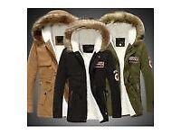 Stylish Men's Warm Fur Collar Hooded Parka Winter Thick Down Coat Outwear Jacket