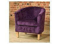 Chenille Tub Armchair Occasional Living Room Chair