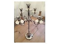 4 x 60cm Tall Wedding Candelabras, Silver 5arm Twist for weddings, center pieces or events