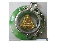 Rotatable Cute Gold Buddha Jade Lucky Pendant Necklace