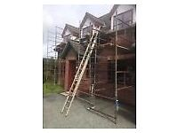 Assorted scaffolding with boards