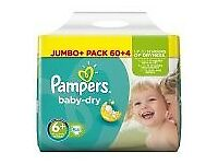 New Pampers Dry Jumbo Nappies 6+ 64+8 Extra Free