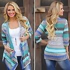 Women Boho Long Sleeve Waterfall Cape Cardigan Top Aztec Poncho Wrap Coat Jacket