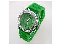 2017 Women Crystal Rubber Watches Sports Analog Quartz WristWatches Gift Green
